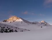 Last light on McGillivray Summit in the Coast Mountains of British Columbia