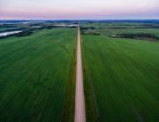 The Canadian Prairies stretch towards the far western horizon