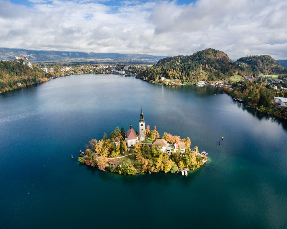 Flying high above Lake Bled, Slovenia