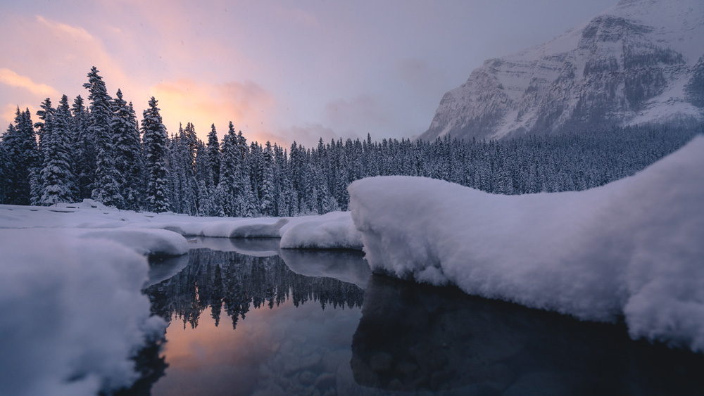 Moments of clarity during an incredible sunrise storm at Lake Louise