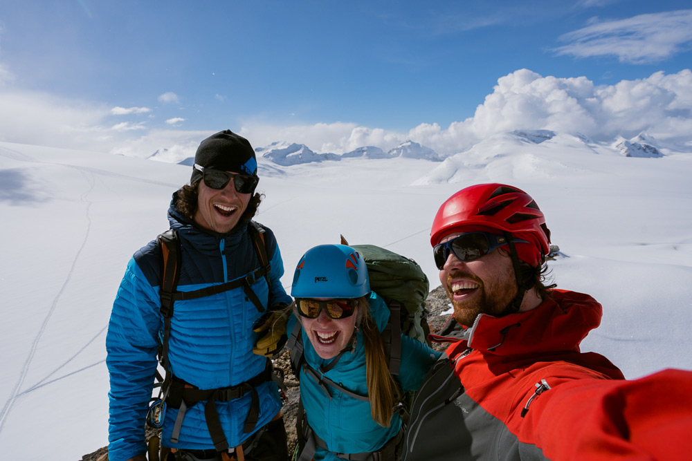 Our three-person team for the little yoho traverse across the Wapta Icefield.