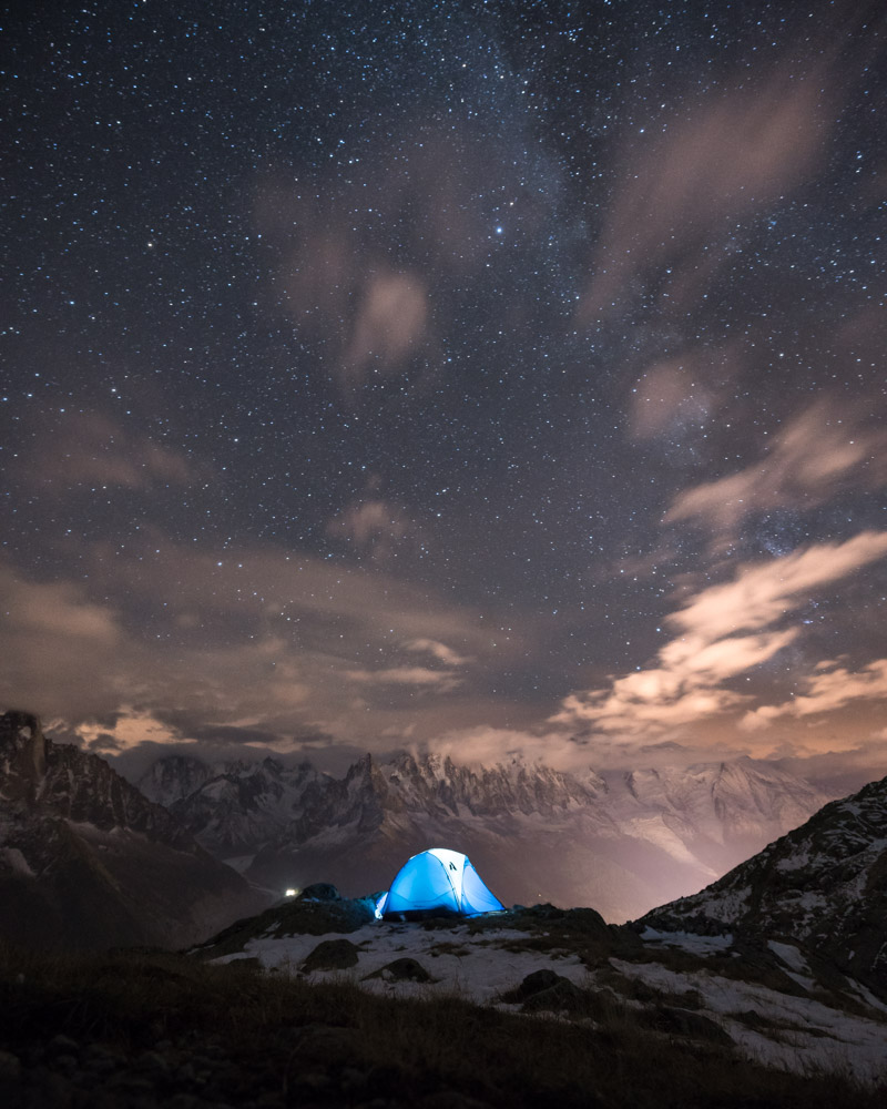 Hiking adventure in the alps with a stunning wild campsite