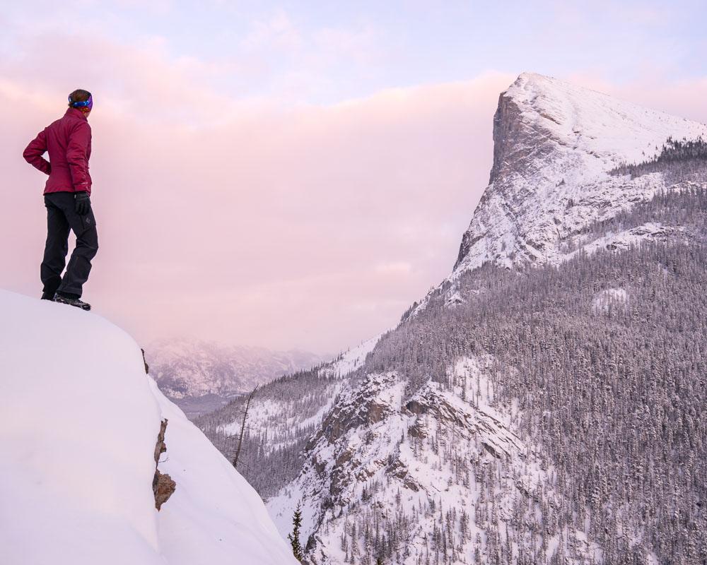 Eddie Bauer EverTherm Jacket behind Ha Ling Peak in Kananaskis Country, Canmore, Alberta, Canada