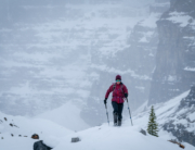 the Eddie Bauer EverTherm jacket in action behind Lake Louise, Alberta