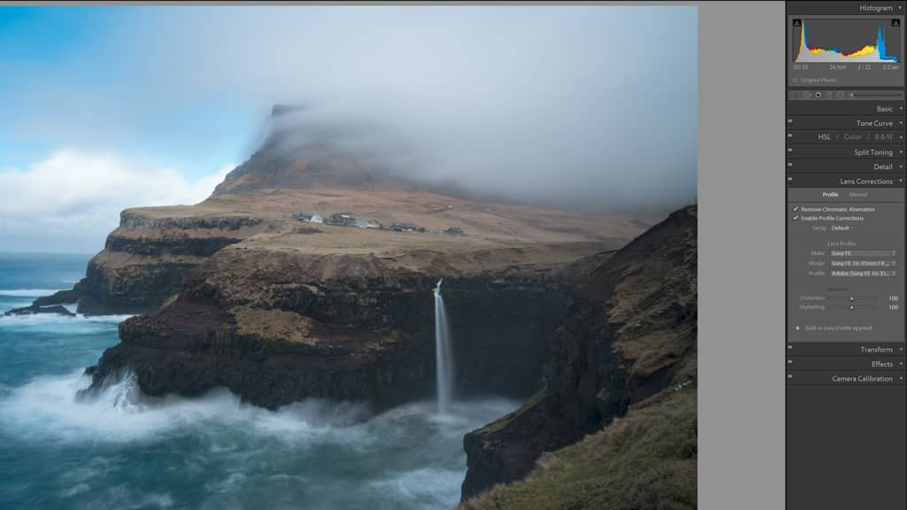 Using the lens correction feature in lightroom improves most images