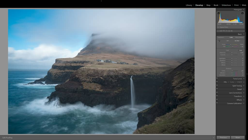 in lightroom, clarity increases the contrast of midtones, improving most images.