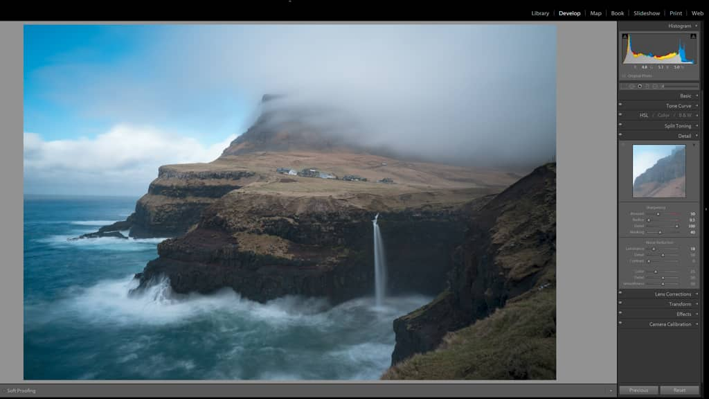 How to build a preset to include sharpening to improve all landscape images in adobe lightroom