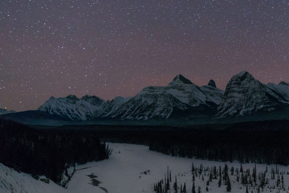 The Goats and Glaciers Viewpoint, at night, is just one of the scenes we'll photograph during the dark sky-themed travel photography workshop in Jasper, Alberta
